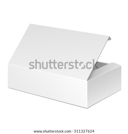 Opened White Cardboard Package Box. Gift Candy. On White Background Isolated. Mock Up Template Ready For Your Design. Product Packing Vector EPS10 - stock vector