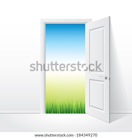 Opened white door and nature behind photo-realistic vector illustration