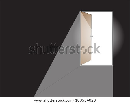 Opened white door with view