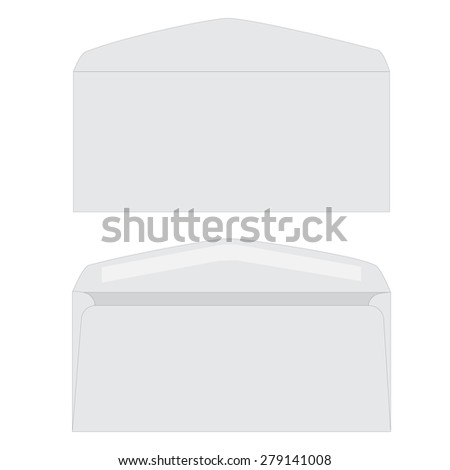 Opened white envelope vector icon isolated. Front and back view envelope