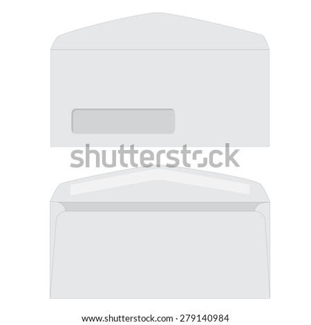 Opened white envelope with transparent window vector icon isolated. Front and back view envelope - stock vector