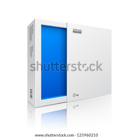 Opened White Modern Software Package Box Blue Inside For DVD, CD Disk Or Other Your Product EPS10 - stock vector