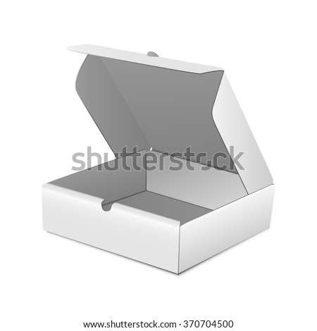 Opened White Product Cardboard, Carton Package Box. Illustration Isolated On White Background. Mock Up Template Ready For Your Design. Vector EPS10 - stock vector
