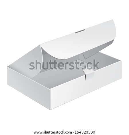 Opened White Product Cardboard, Carton Package Box On White Background Isolated. Ready For Your Design. Product Packing Vector EPS10
