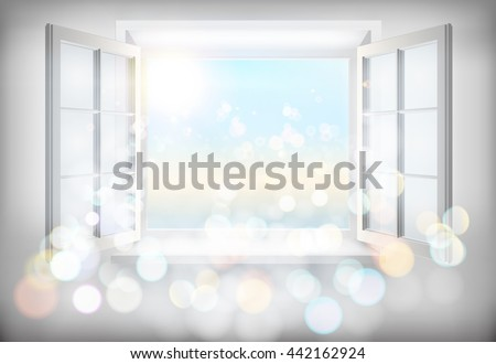 Opened window. Vector illustration. - stock vector