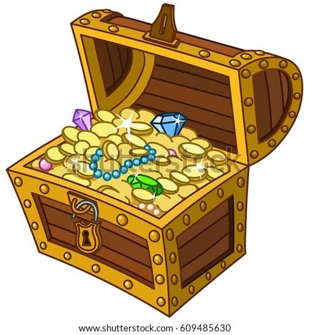 ... and jewels open treasure chest vector illustration treasure chest