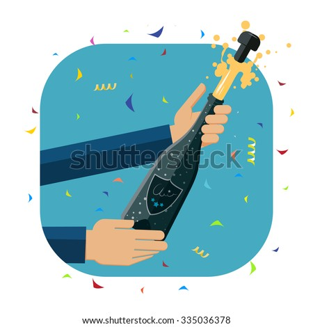 Opening a a bottle of champagne. Flat design illustration of hands opening a champagne bottle to celebrate special event. - stock vector