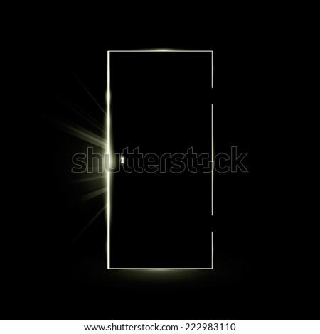 Opening black door in a dark room with shining light. Vector illustration. & Black Door Stock Images Royalty-Free Images u0026 Vectors | Shutterstock pezcame.com