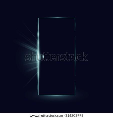 Opening black door in a dark room with shining light. Vector illustration. - stock vector