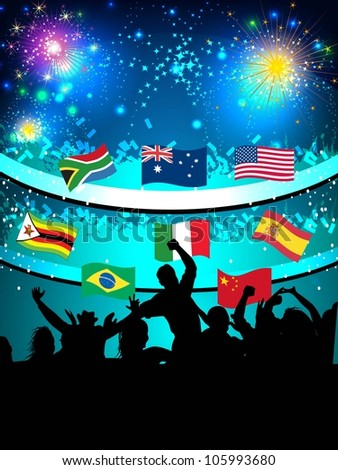 Opening ceremony of sports events with enjoying audience and waving flags of different countries on shiny night background. EPS 10.