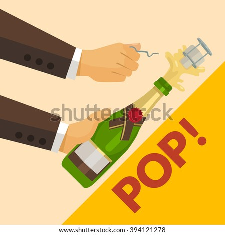 Opening champagne bottle. Vector flat illustration - stock vector