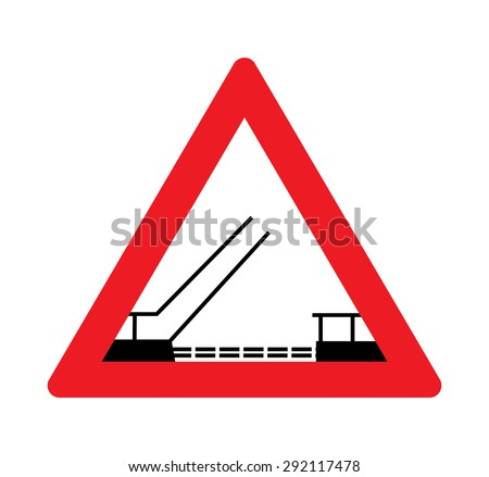 Opening or swing bridge warning traffic signs.