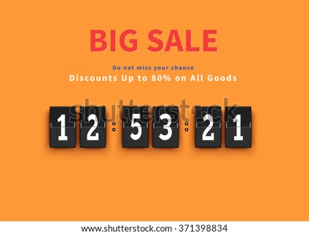Opening soon. Big sale countdown. Sale big, discount and big savings, huge sale, sale banner, promotion shopping, countdown time, special bog sale, offer banner sale, retail banner timer illustration