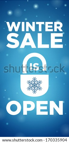 Opening winter sale and lock with snowflake on blue background