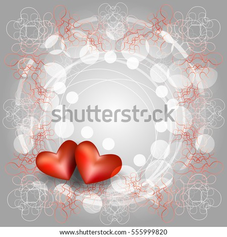 Openwork Frame Two Hearts Card Valentines Stock Vector 555999820 ...