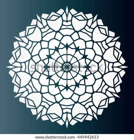 Openwork pattern mandala. Laser cutting template for wedding envelopes, invitations, decorative elements.