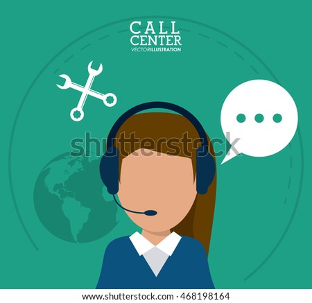 operator assistant woman headphone wrench bubble planet call center technical service icon, Vector illustration
