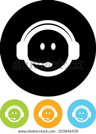 Operator in headset phones - Vector icon isolated - stock vector