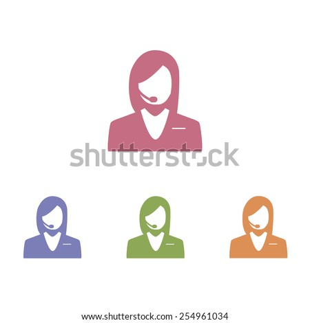 Operator in headset - Vector icon - stock vector