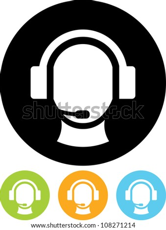 Operator in headset - Vector icon isolated - stock vector