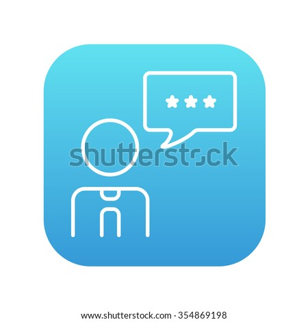 Operator of customer service with speech square line icon for web, mobile and infographics. Vector white icon on the blue gradient square with rounded corners isolated on white background. - stock vector