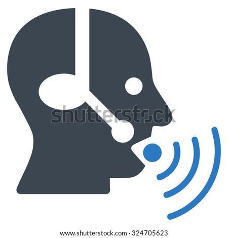 Operator Signal vector icon. Style is bicolor flat symbol, smooth blue colors, rounded angles, white background.