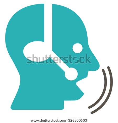 Operator Speech vector icon. Style is bicolor flat symbol, grey and cyan colors, rounded angles, white background.