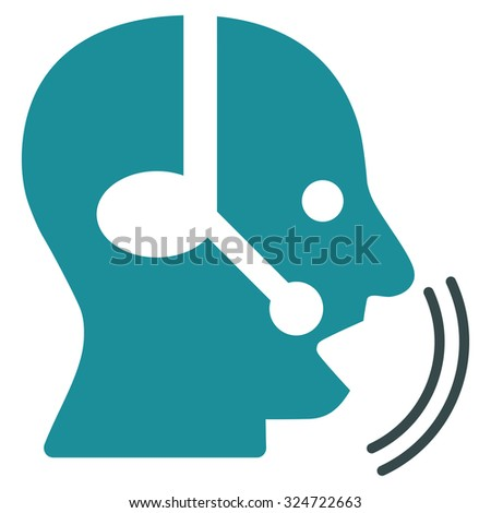 Operator Speech vector icon. Style is bicolor flat symbol, soft blue colors, rounded angles, white background.