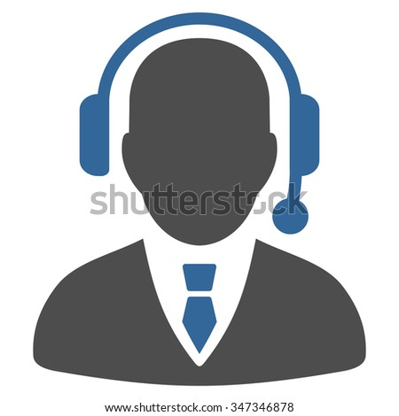 Operator vector icon. Style is bicolor flat symbol, cobalt and gray colors, rounded angles, white background. - stock vector