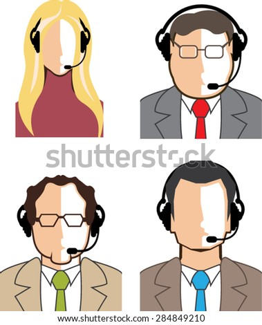 Operators with headsets Vector - stock vector