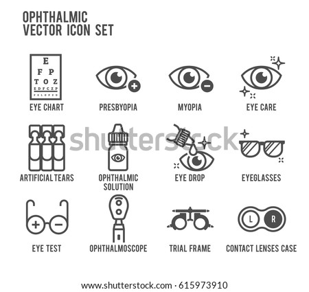Ophthalmic Eye Care Vector Icon Set Stock Vector Royalty Free