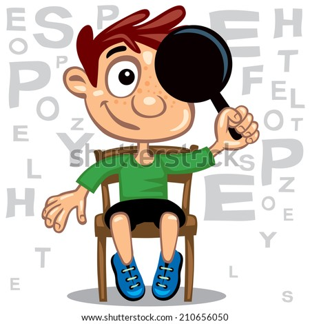 Ophthalmologist , Oculist exam little boy - stock vector