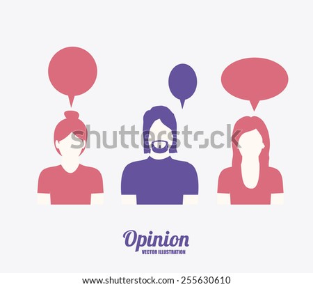 opinion desing over white background vector illustration. - stock vector