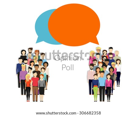 Opinion poll flat illustration of two groups of people and speech bubbles between them - stock vector