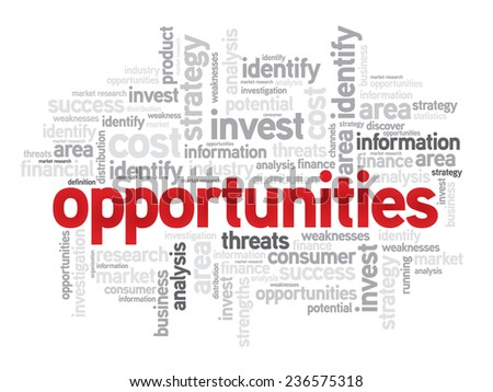 Opportunities business concept in word tag cloud, vector background