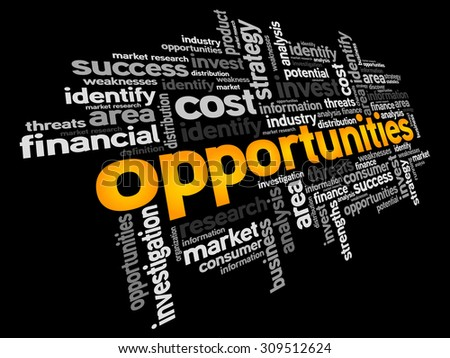 Opportunities word cloud, business concept - stock vector