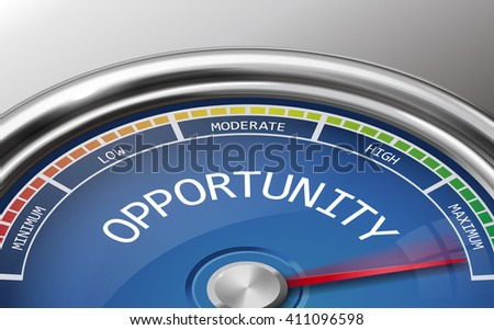 opportunity conceptual 3d illustration meter indicator isolated on grey background - stock vector