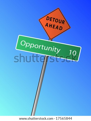 Opportunity 10 miles (km) ahead, with a Detour Ahead Sign - stock vector
