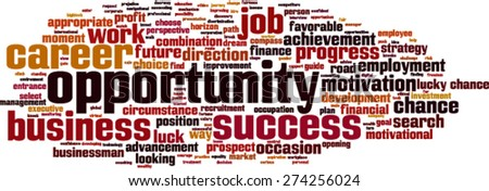 Opportunity word cloud concept. Vector illustration - stock vector