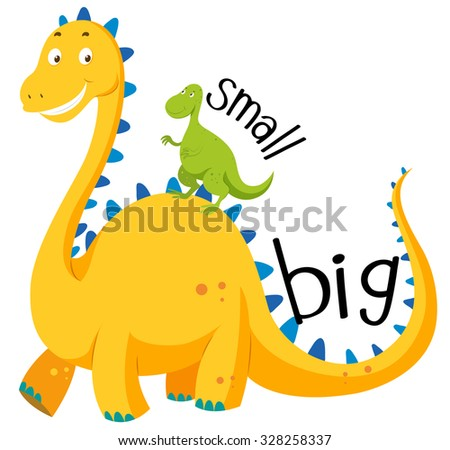 Opposite adjective big and small illustration