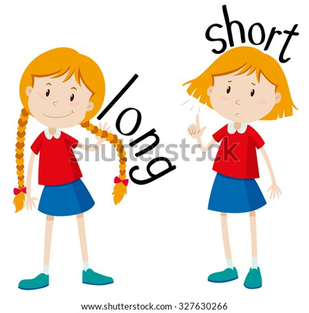 Opposite Adjectives Long Short Illustration Stock Vector
