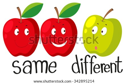 Opposite adjectives with same and different illustration - stock vector