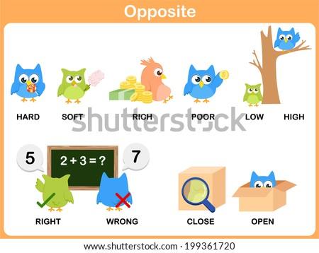 Opposite Word Preschool Hard Soft Rich Stock Vector 199361720 ...