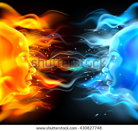 Opposites faces concept of two faces with fire or flames one hot orange and one cold blue. Could be a concept for the sun and moon, hot and cold, summer and winter, passion and logic or similar. - stock vector