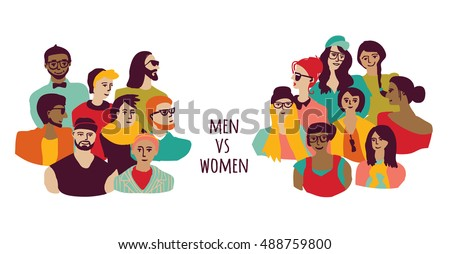 Opposition men and women groups isolate on white. Color vector illustration. EPS8