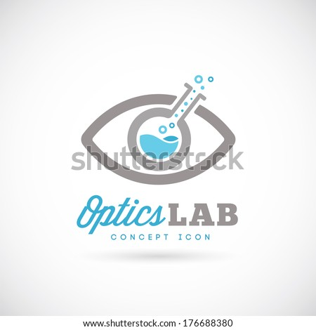Optic laboratory abstract vector concept symbol icon or Logo Template - stock vector