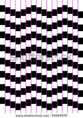 Optical art of a wave of squares - stock vector