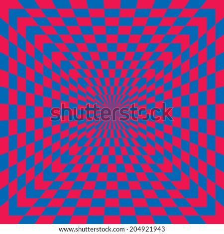 Optical Check seamless pattern in blue and red.