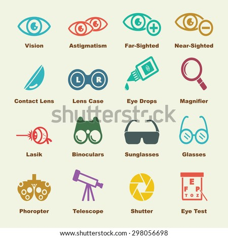 optical elements, vector infographic icons - stock vector