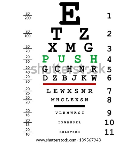 Optical eye test with push message